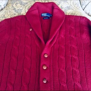 100% Wool Ralph Lauren Polo Shawl Cardigan  Sz. L